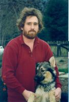 Steve Howard with beard and dog- KC.